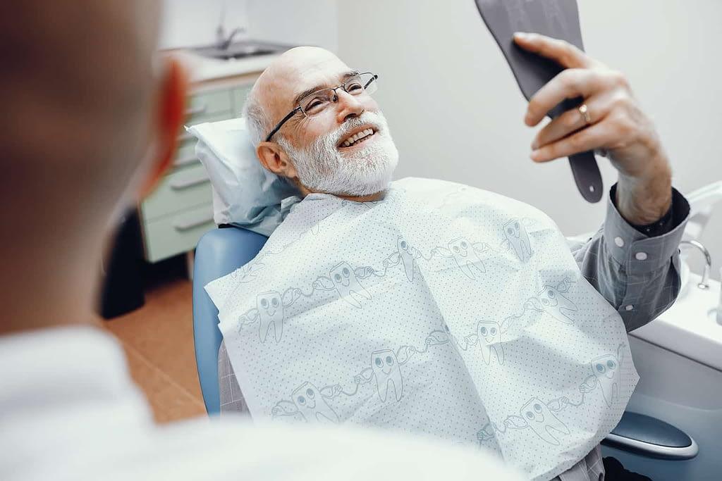 Patient smiling with veneers